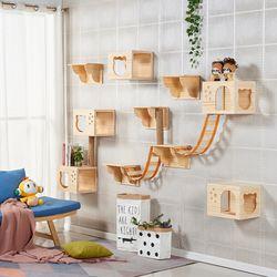 고양이 설치형 나무 벽걸이 캣타워