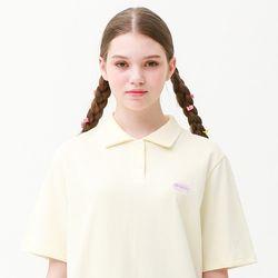[무료배송] RONRON wappen PK half T-shirts cream