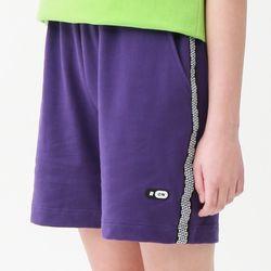 [무료배송] Check track half pants purple