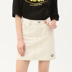 [무료배송] Stitch point denim skirt ivory