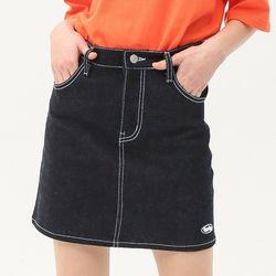 [무료배송] Stitch point denim skirt deep blue