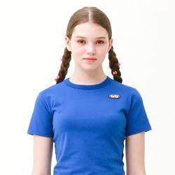 [무료배송] Mini circle logo crop T-shirt blue