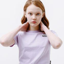 [무료배송] Mini circle logo crop T-shirt light purple