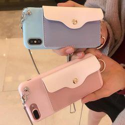 아이폰 케이스 파스텔 카드 수납 지갑 실리콘 휴대폰