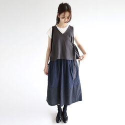 charming wrap linen vest (2colors)