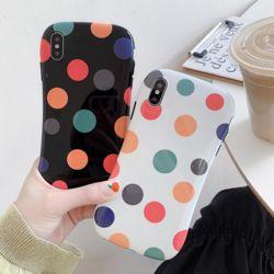 아이폰 컬러 도트 땡땡이 패턴 소프트 휴대폰 케이스