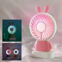 우드밀리 휴대용 캐릭터 선풍기 LED 선풍기