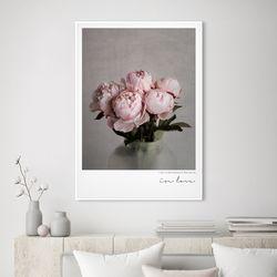 인러브 모란 꽃 그림 액자 A3 포스터