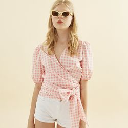 Annelle Wrap Blouse Gingham Check