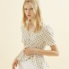 Dot Puff Shoulder Blouse Ivory