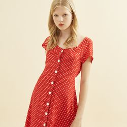Floral Square Neck Dress Red