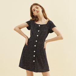 Dot Square Neck Dress Navy
