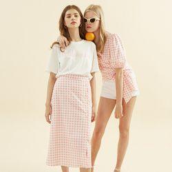 Gingham Check Midi Skirt