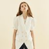 Puff Shoulder Linen Jacket Ivory