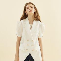 Puff Shoulder Linen Jacket Ivory