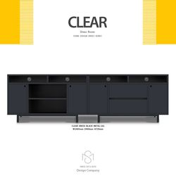 클리어 2400 서랍 오픈형 거실장 세트 메탈렉 블랙