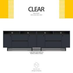 클리어 2400 서랍형 거실장 세트 메탈렉 블랙