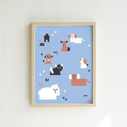 강아지 일러스트 포스터 렛츠플레이 30x40 cm