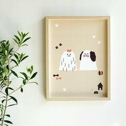 강아지 일러스트 포스터 루시앤루키 30x40 cm