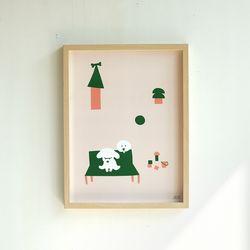 강아지 일러스트 포스터 마이베이비1 30x40 cm
