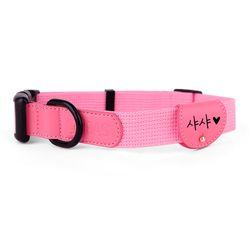 강아지 목줄 인식표 세트 핑크