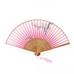 다홍 대나무 매화 부채(핑크)