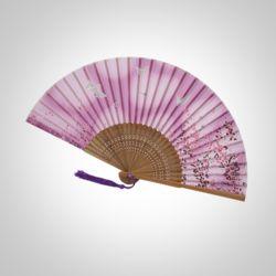 다홍 대나무 벚꽃 나비 부채(핑크)