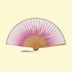 다홍 대나무 꽃잎 나비 부채(퍼플)