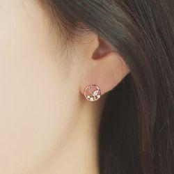 꽃봉우리 로즈골드 큐빅링 귀걸이 OTE119516QPW