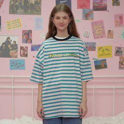 Wave logo stripe tshirt-pink