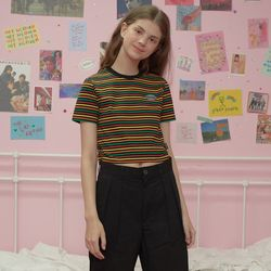 Patch stripe crop-rainbow