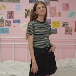 Patch stripe crop-pastell