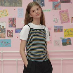 Patch stripe sleeveless-pastell