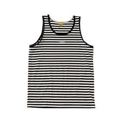 W슬리버 3901 스트라이프 민소매 티셔츠 블랙