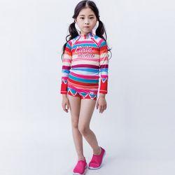 아동래쉬가드 무지개떡 상하의SP세트수영복래시가드