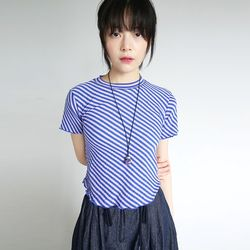 oblique line cotton crop tee (3colors)