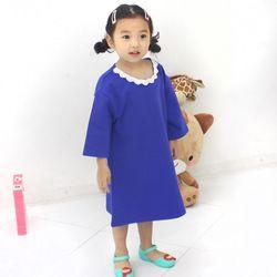 KIDS 러블리 레이스넥 7부소매 블루 원피스겸 롱티셔츠아동복