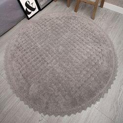 순면 엠보러그 아이보리 원형 러그 카페트 150x150cm