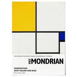 중형 패브릭 포스터 M004 추상화 유화 그림 액자 몬드리안 D