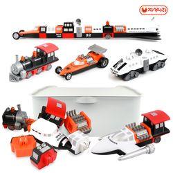 믹스&매치 자석블럭(콤보세트2) -우주선-레이싱카-기차
