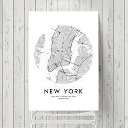 라운드지도 뉴욕 액자 인테리어 A3 포스터