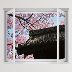 iy884-벚꽃드리워진기와집창문그림액자(중형)