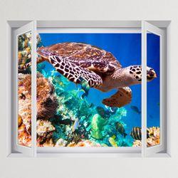 iy887-산호초와바다거북창문그림액자(중형)