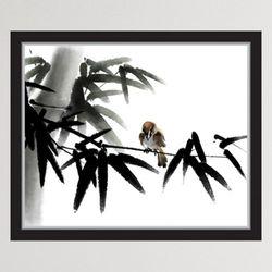 iy899-수묵화참새와대나무창문그림액자(중형)