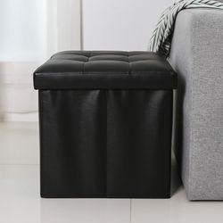 PU가죽 접이식 수납 스툴 의자S (Black)