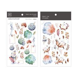 Miccudo 프린트-온 스티커 Ver.2 (8. Autumn Jade Bird)