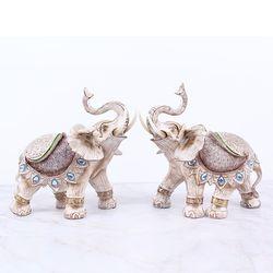 화이트 엔틱 코끼리장식품 WE02 대 2P SET 인테리어장식소품