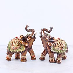브라운 엔틱 코끼리장식품 BE01 소 2P SET 인테리어장식소품