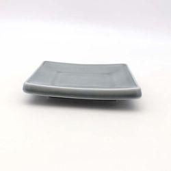 NEMO 달소금 모던 도자기그릇 유광 사각 타일접시-스카이그레이