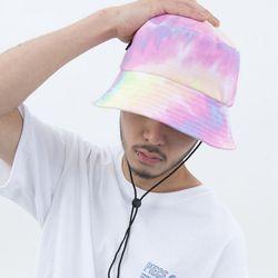 TIE-DYE STRING BUCKET HAT (CORAL)